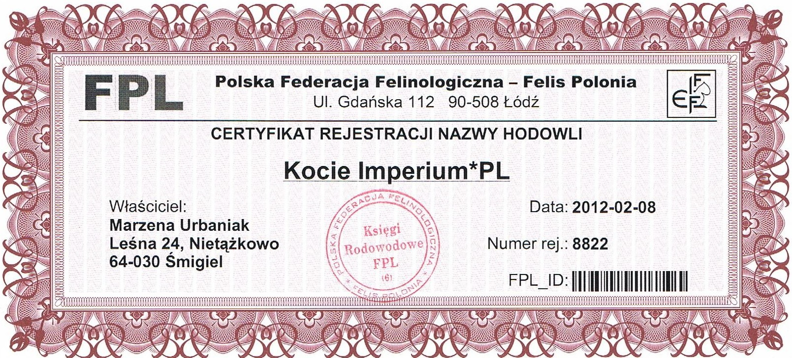 Certyfikat Hodowli